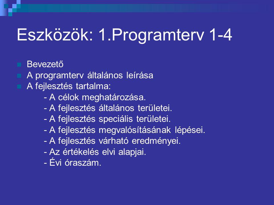 Eszközök: 1.Programterv 1-4 Bevezető A programterv általános leírása A fejlesztés tartalma: - A célok meghatározása. - A fejlesztés általános területe
