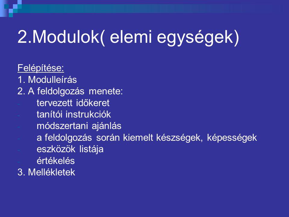 2.Modulok( elemi egységek) Felépítése: 1. Modulleírás 2. A feldolgozás menete: - tervezett időkeret - tanítói instrukciók - módszertani ajánlás - a fe