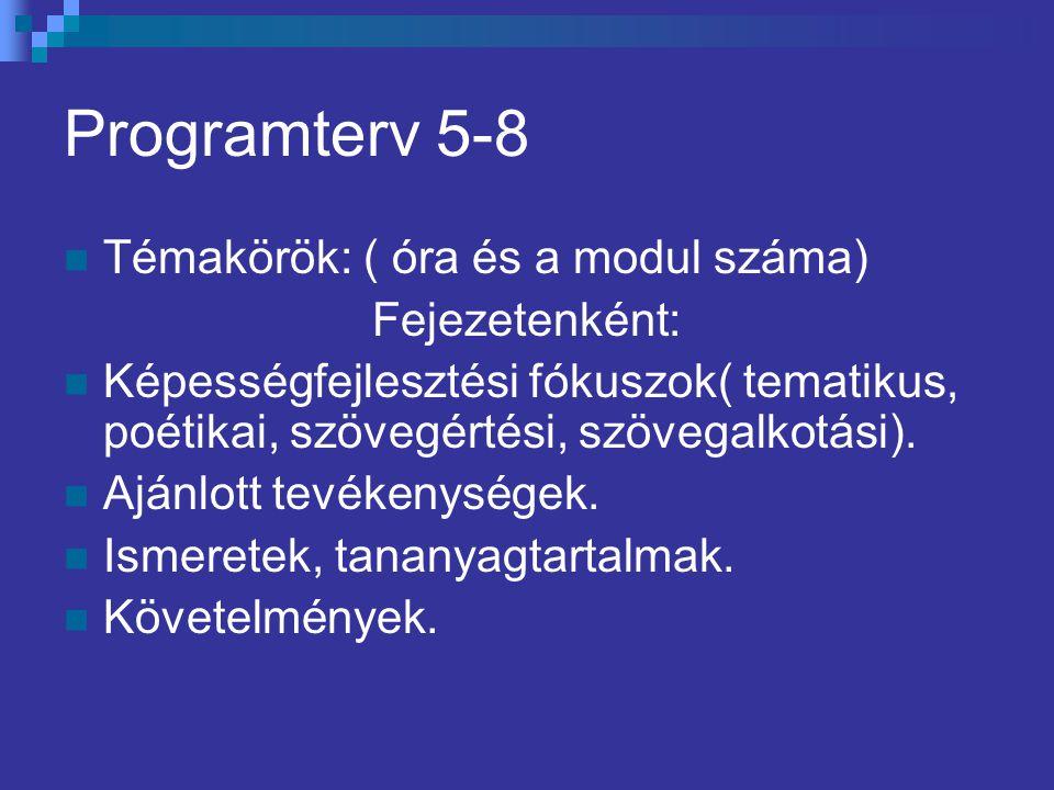 Programterv 5-8 Témakörök: ( óra és a modul száma) Fejezetenként: Képességfejlesztési fókuszok( tematikus, poétikai, szövegértési, szövegalkotási). Aj