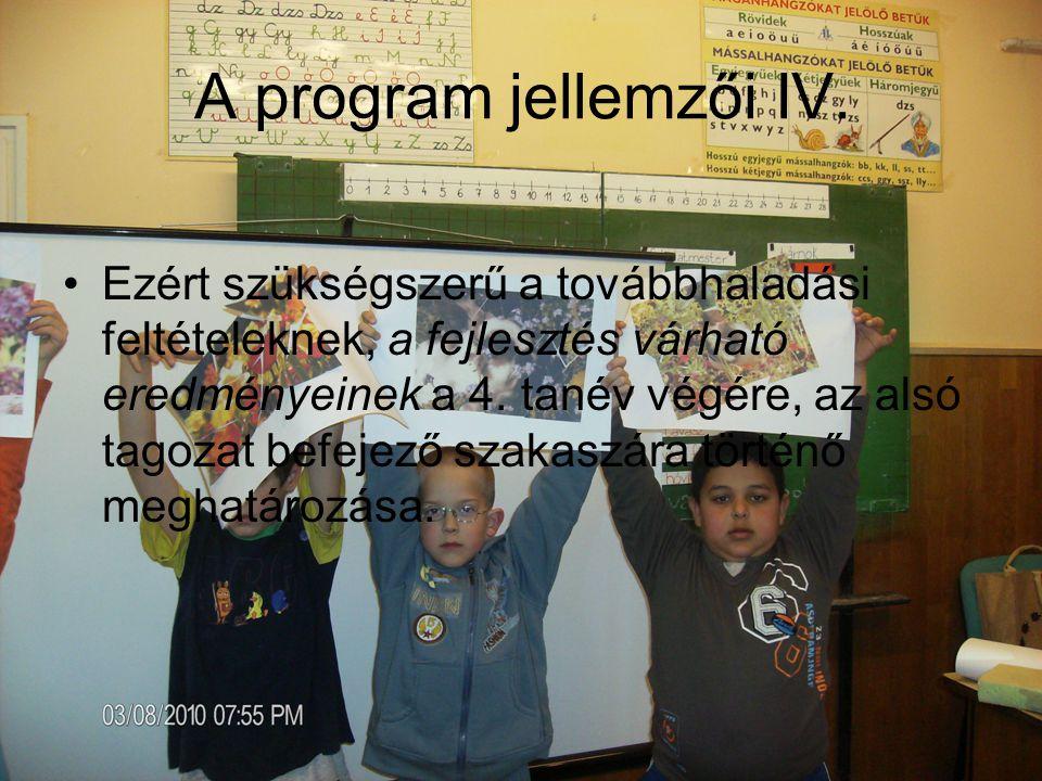 A program jellemzői V.