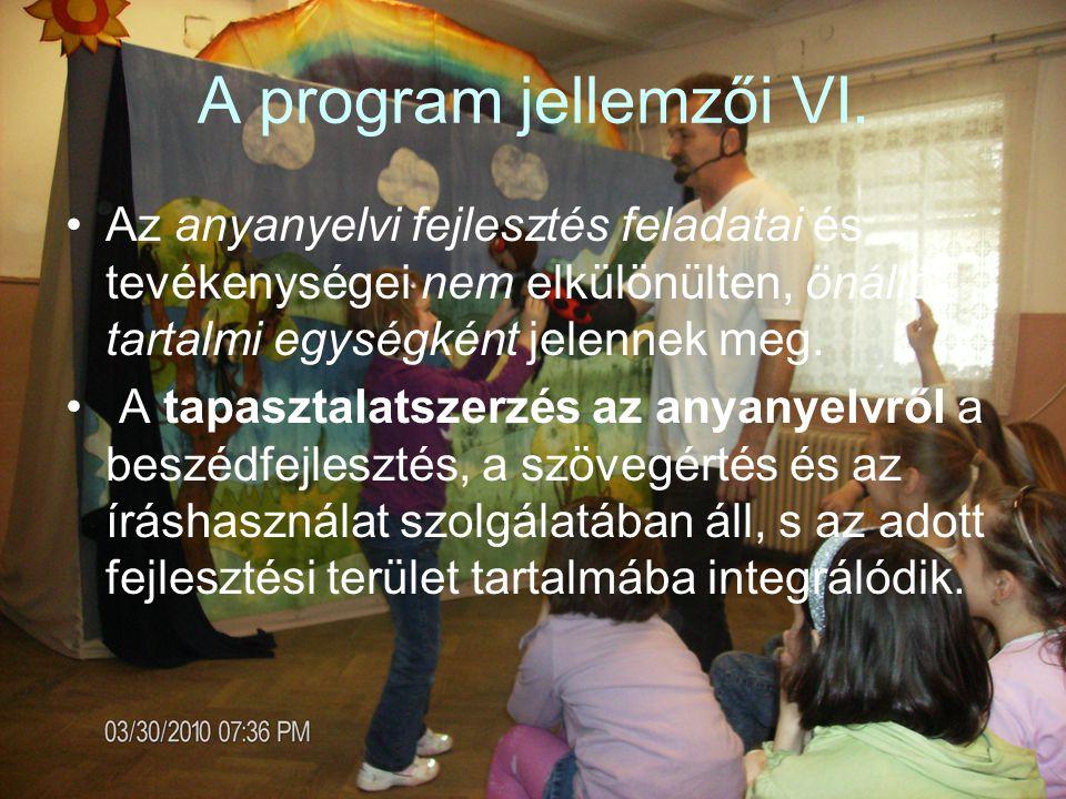 A program jellemzői VI.