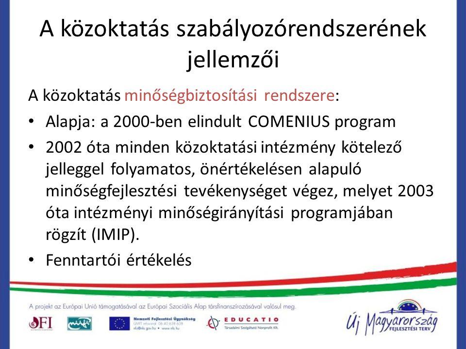 A közoktatás szabályozórendszerének jellemzői A közoktatás minőségbiztosítási rendszere: Alapja: a 2000-ben elindult COMENIUS program 2002 óta minden