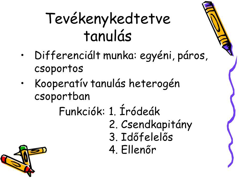 Tevékenykedtetve tanulás Differenciált munka: egyéni, páros, csoportos Kooperatív tanulás heterogén csoportban Funkciók: 1. Íródeák 2. Csendkapitány 3