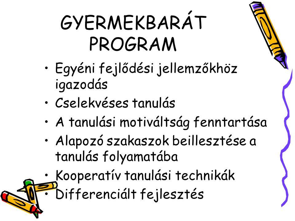 GYERMEKBARÁT PROGRAM Egyéni fejlődési jellemzőkhöz igazodás Cselekvéses tanulás A tanulási motiváltság fenntartása Alapozó szakaszok beillesztése a ta