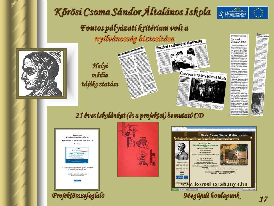 17 Fontos pályázati kritérium volt a nyilvánosság biztosítása Kőrösi Csoma Sándor Általános Iskola Helyi média tájékoztatása Projektösszefoglaló 25 éves iskolánkat (és a projektet) bemutató CD Megújult honlapunk www.korosi-tatabanya.hu