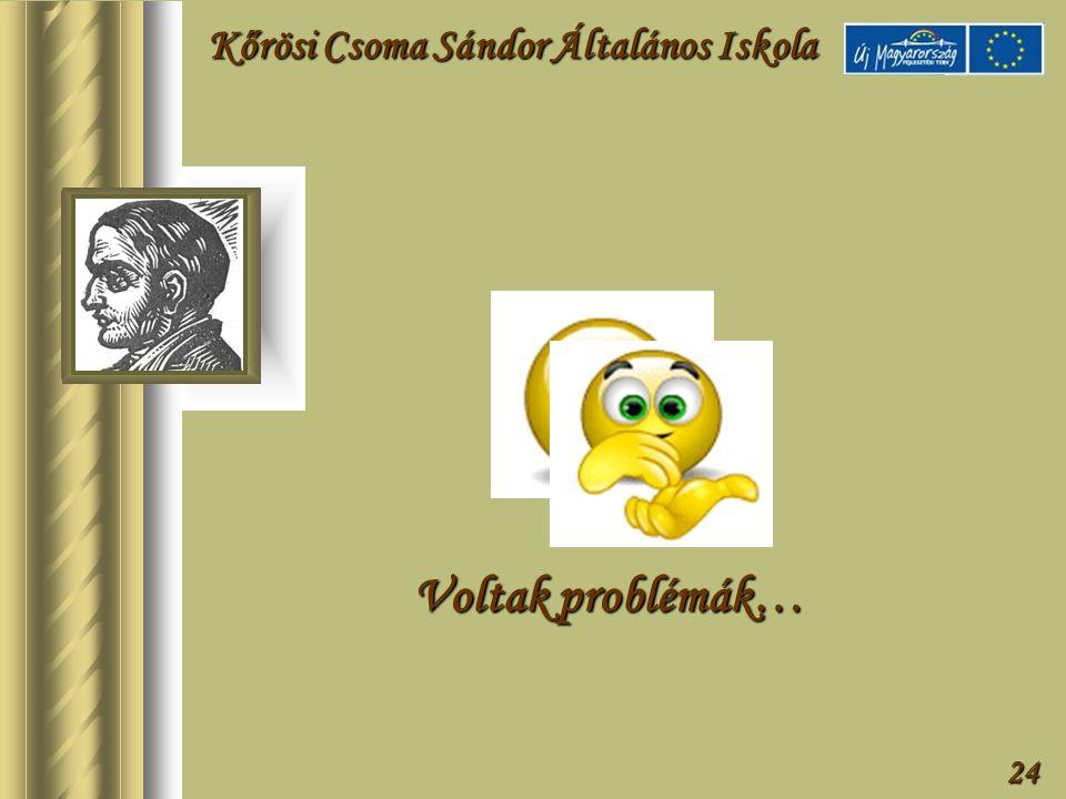 24 Voltak problémák… Kőrösi Csoma Sándor Általános Iskola