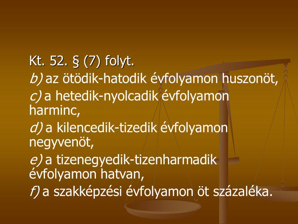 Kt. 52. § (7) folyt.