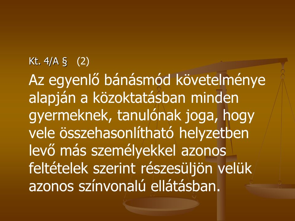 Esélyegyenlőségről szóló törvény 27.
