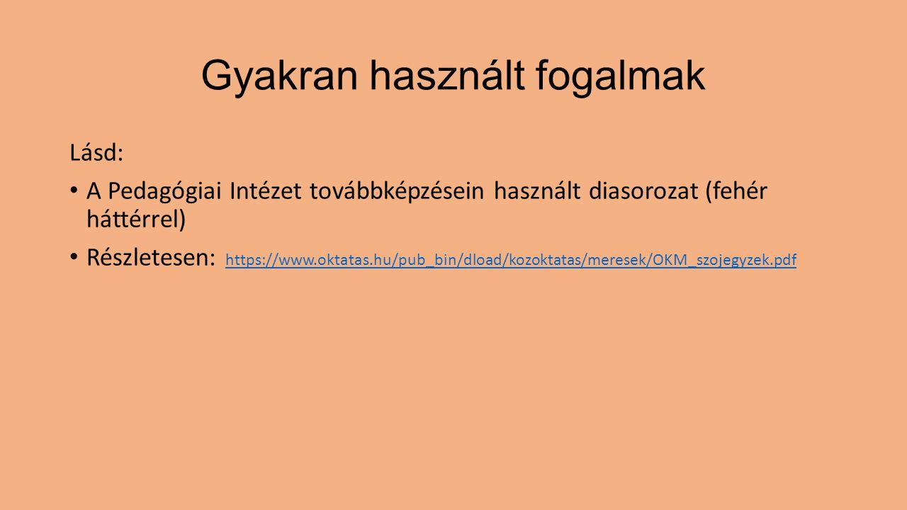 Gyakran használt fogalmak Lásd: A Pedagógiai Intézet továbbképzésein használt diasorozat (fehér háttérrel) Részletesen: https://www.oktatas.hu/pub_bin
