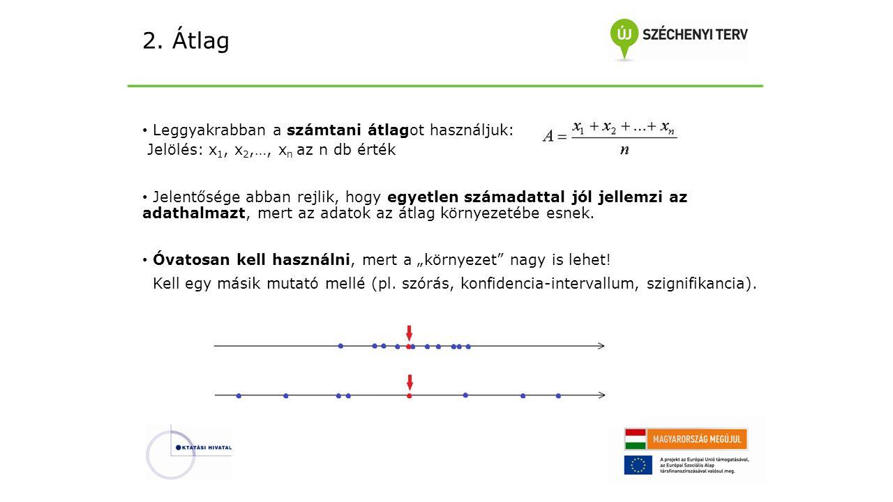 2. Átlag Leggyakrabban a számtani átlagot használjuk: Jelölés: x 1, x 2,…, x n az n db érték Jelentősége abban rejlik, hogy egyetlen számadattal jól j