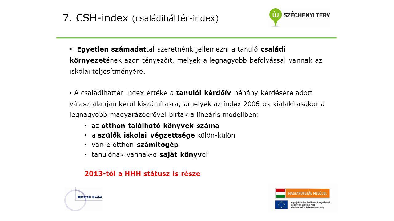 7. CSH-index (családiháttér-index) Egyetlen számadattal szeretnénk jellemezni a tanuló családi környezetének azon tényezőit, melyek a legnagyobb befol