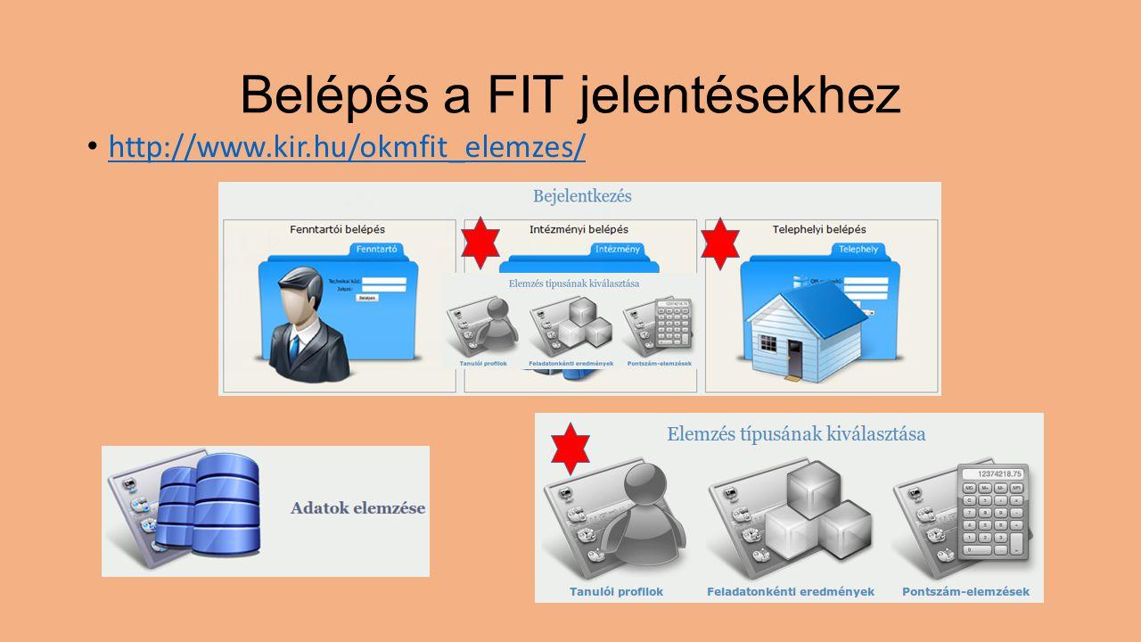 Belépés a FIT jelentésekhez http://www.kir.hu/okmfit_elemzes/