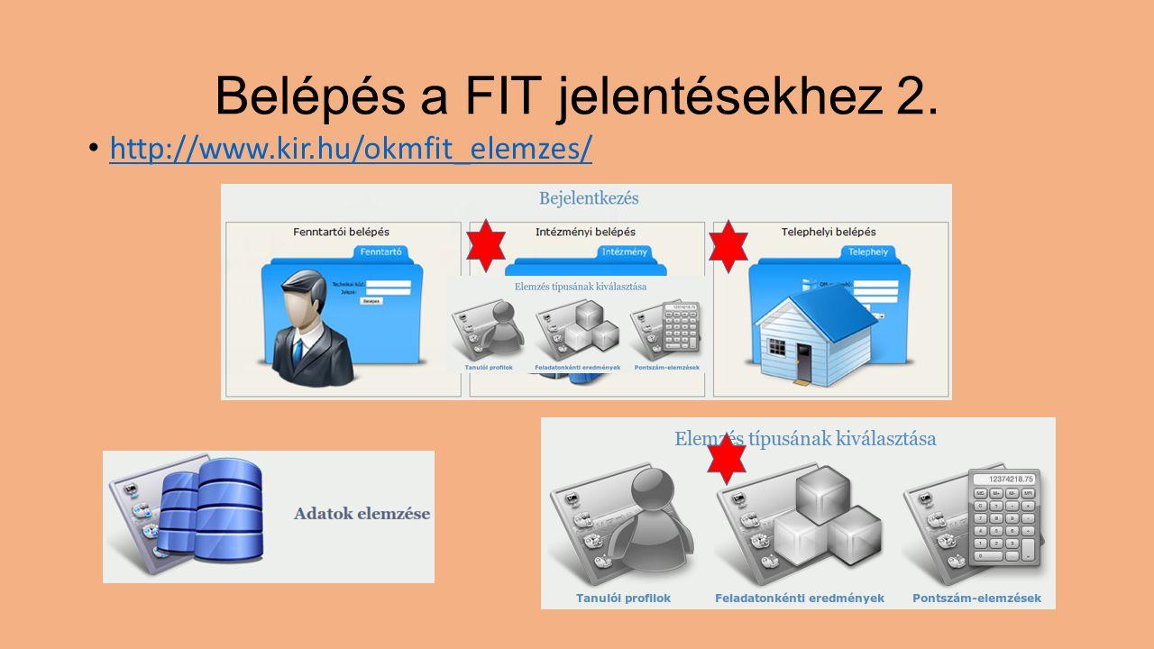 Belépés a FIT jelentésekhez 2. http://www.kir.hu/okmfit_elemzes/