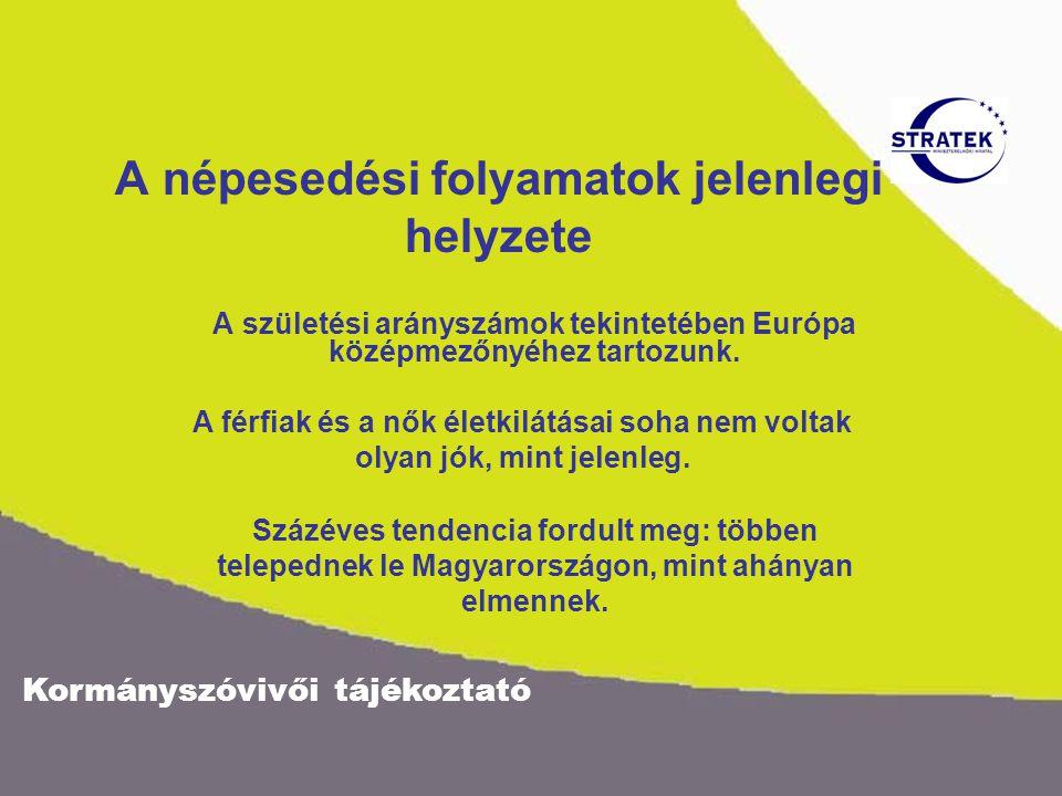 Kormányszóvivői tájékoztató A népesedési folyamatok jelenlegi helyzete A születési arányszámok tekintetében Európa középmezőnyéhez tartozunk.
