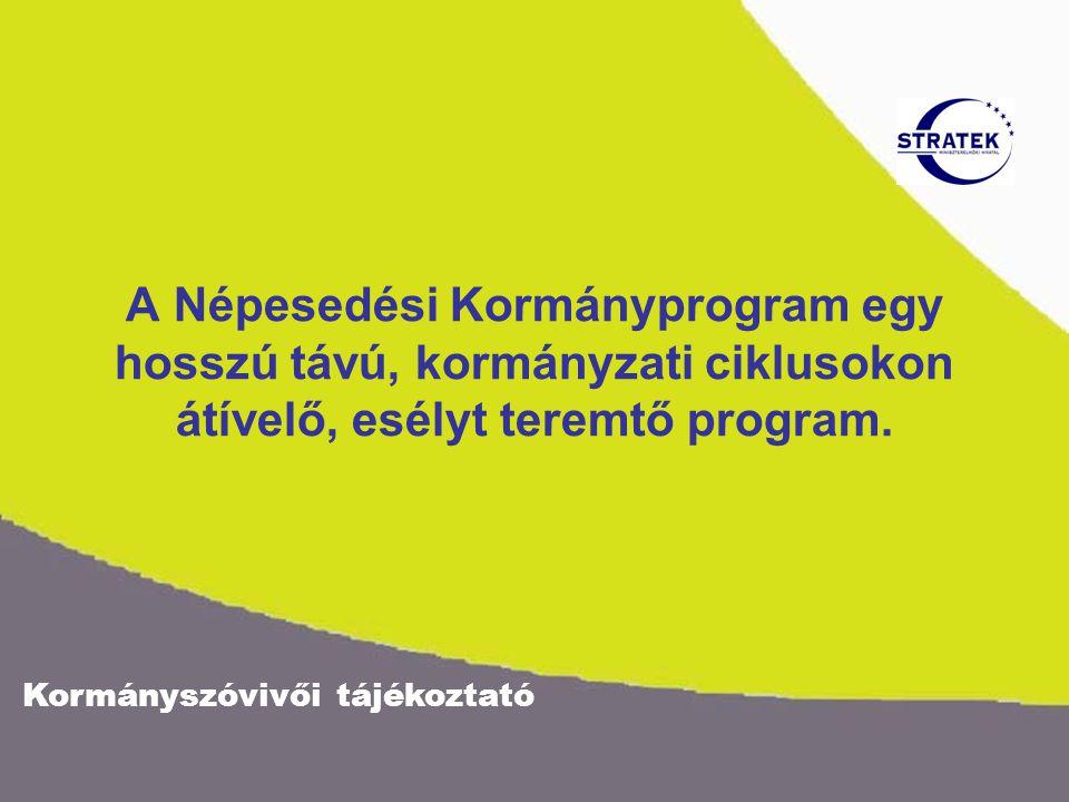 Kormányszóvivői tájékoztató A Népesedési Kormányprogram egy hosszú távú, kormányzati ciklusokon átívelő, esélyt teremtő program.