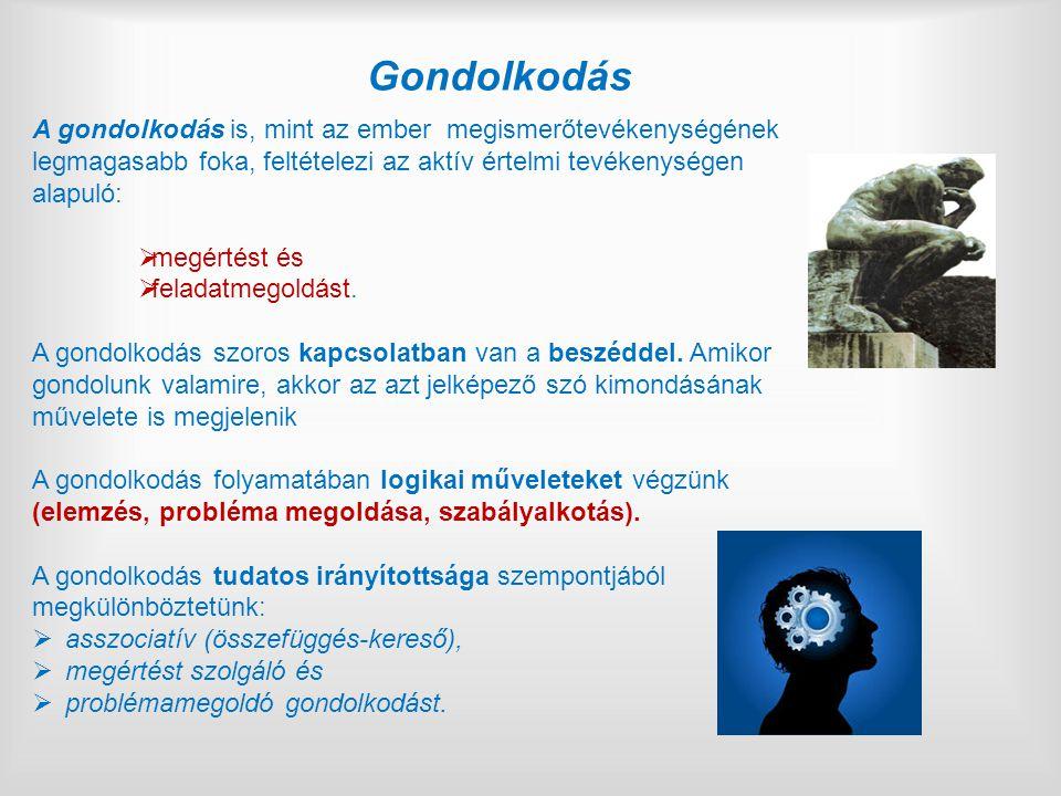 Gondolkodás A gondolkodás is, mint az ember megismerőtevékenységének legmagasabb foka, feltételezi az aktív értelmi tevékenységen alapuló:  megértést és  feladatmegoldást.