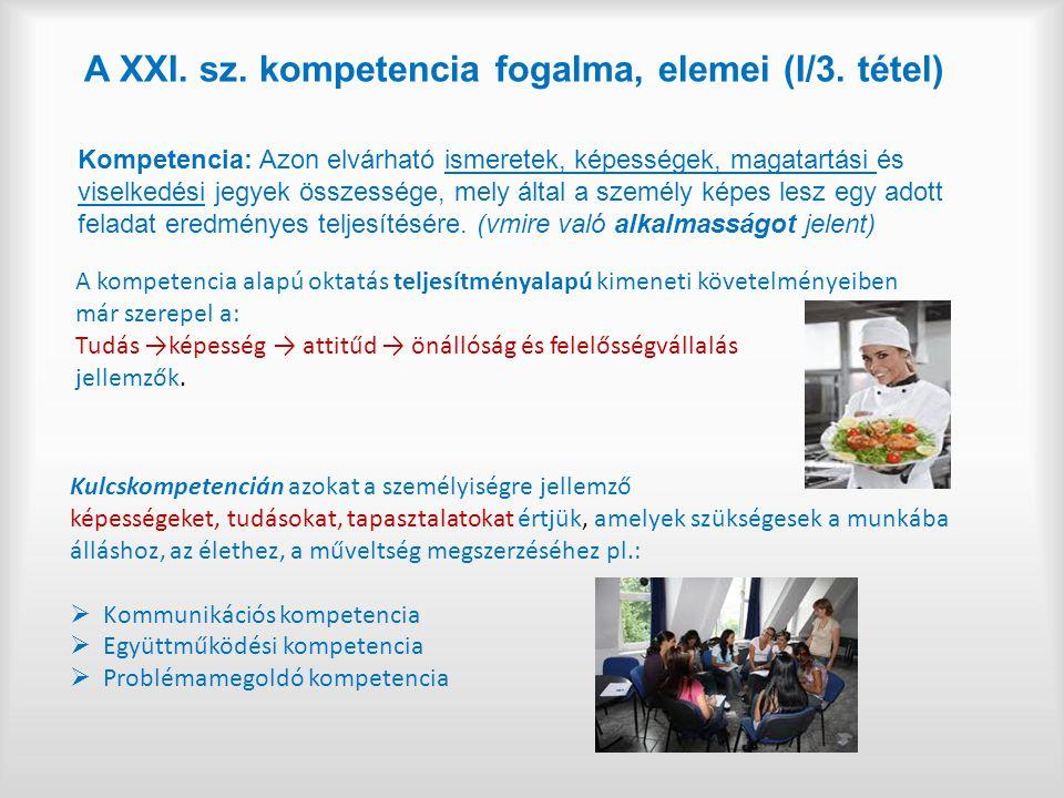 A XXI.sz. kompetencia fogalma, elemei (I/3.