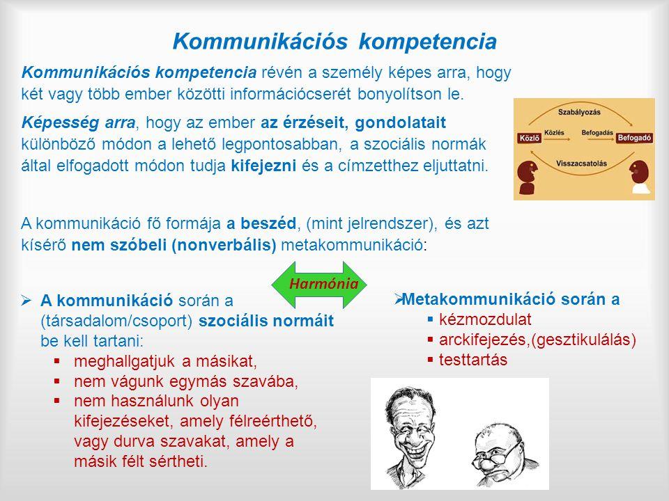 Kommunikációs kompetencia Kommunikációs kompetencia révén a személy képes arra, hogy két vagy több ember közötti információcserét bonyolítson le.