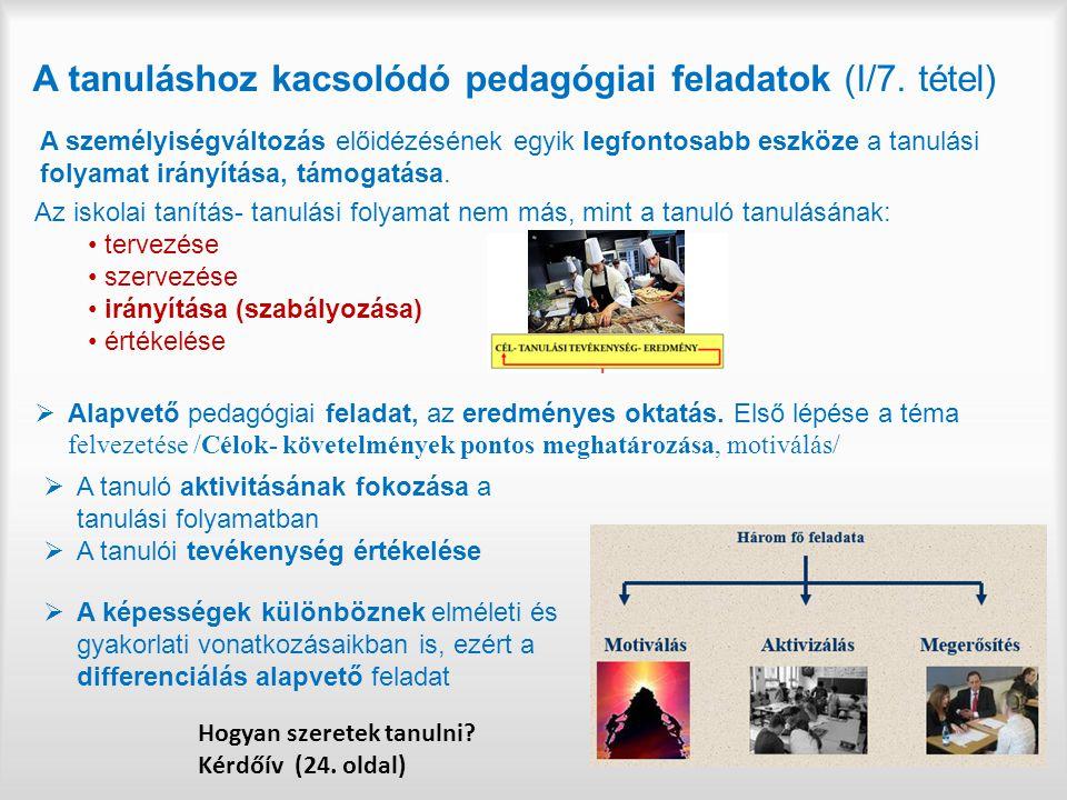 A tanuláshoz kacsolódó pedagógiai feladatok (I/7. tétel) Az iskolai tanítás- tanulási folyamat nem más, mint a tanuló tanulásának: tervezése szervezés