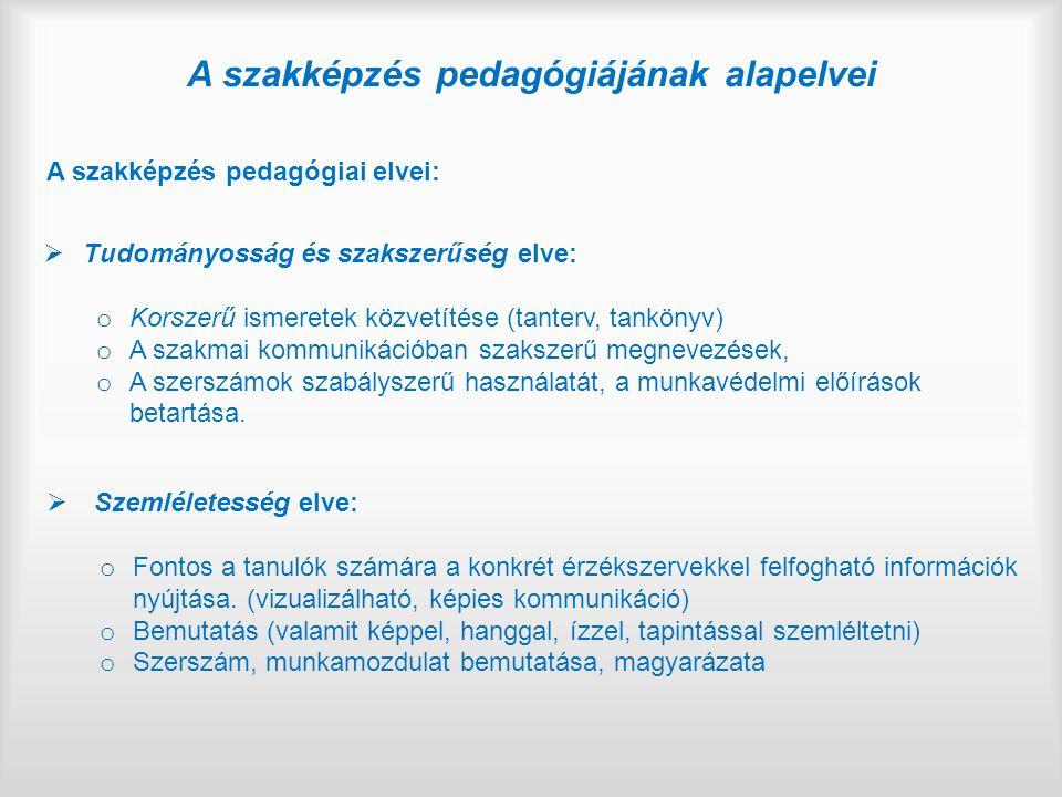 A szakképzés pedagógiájának alapelvei A szakképzés pedagógiai elvei:  Tudományosság és szakszerűség elve: o Korszerű ismeretek közvetítése (tanterv,