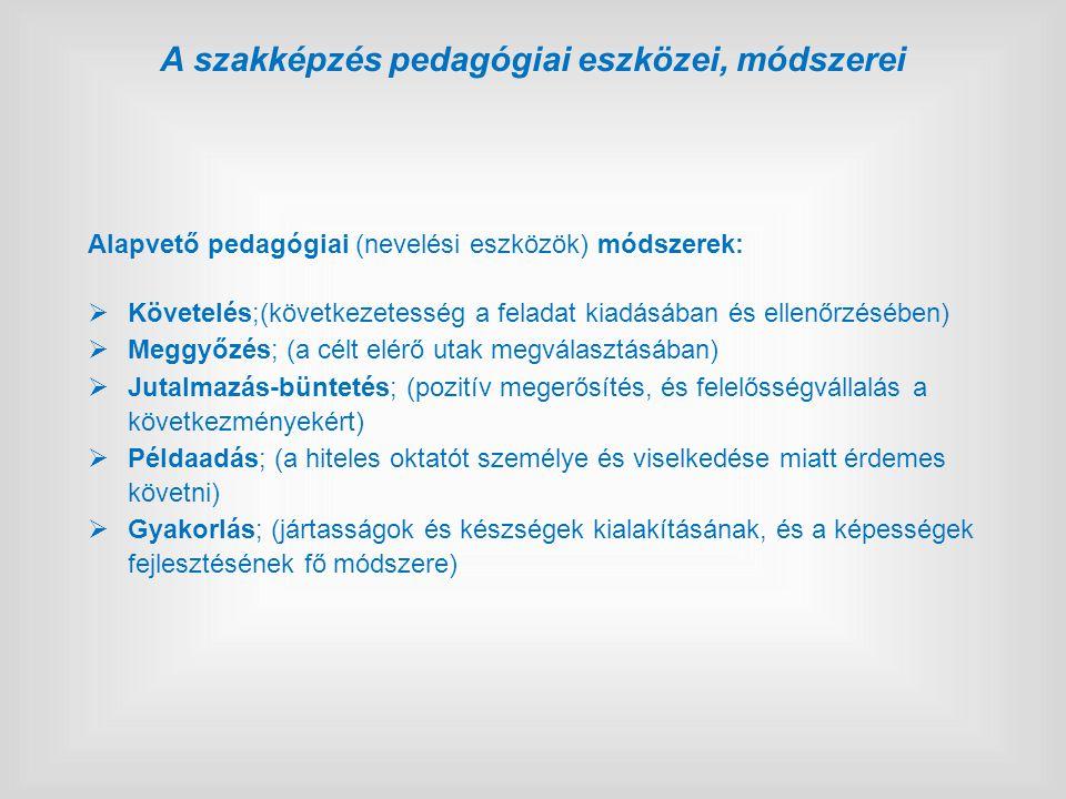 Alapvető pedagógiai (nevelési eszközök) módszerek:  Követelés;(következetesség a feladat kiadásában és ellenőrzésében)  Meggyőzés; (a célt elérő utak megválasztásában)  Jutalmazás-büntetés; (pozitív megerősítés, és felelősségvállalás a következményekért)  Példaadás; (a hiteles oktatót személye és viselkedése miatt érdemes követni)  Gyakorlás; (jártasságok és készségek kialakításának, és a képességek fejlesztésének fő módszere) A szakképzés pedagógiai eszközei, módszerei