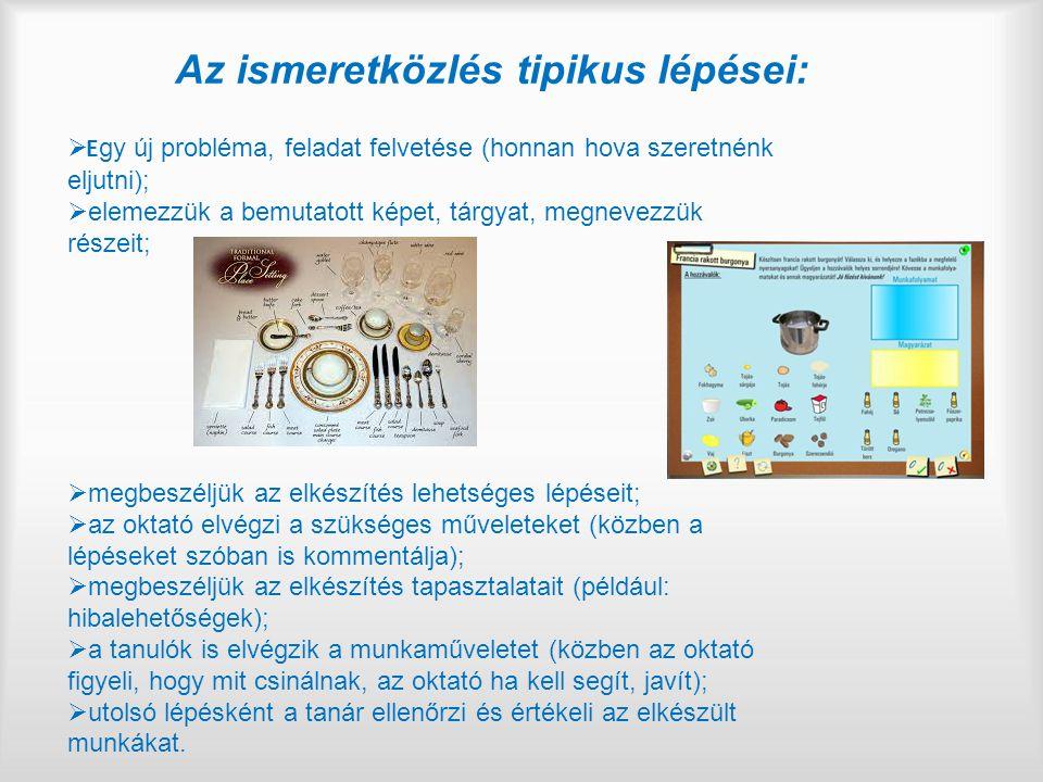 Az ismeretközlés tipikus lépései:  E gy új probléma, feladat felvetése (honnan hova szeretnénk eljutni);  elemezzük a bemutatott képet, tárgyat, megnevezzük részeit;  megbeszéljük az elkészítés lehetséges lépéseit;  az oktató elvégzi a szükséges műveleteket (közben a lépéseket szóban is kommentálja);  megbeszéljük az elkészítés tapasztalatait (például: hibalehetőségek);  a tanulók is elvégzik a munkaműveletet (közben az oktató figyeli, hogy mit csinálnak, az oktató ha kell segít, javít);  utolsó lépésként a tanár ellenőrzi és értékeli az elkészült munkákat.