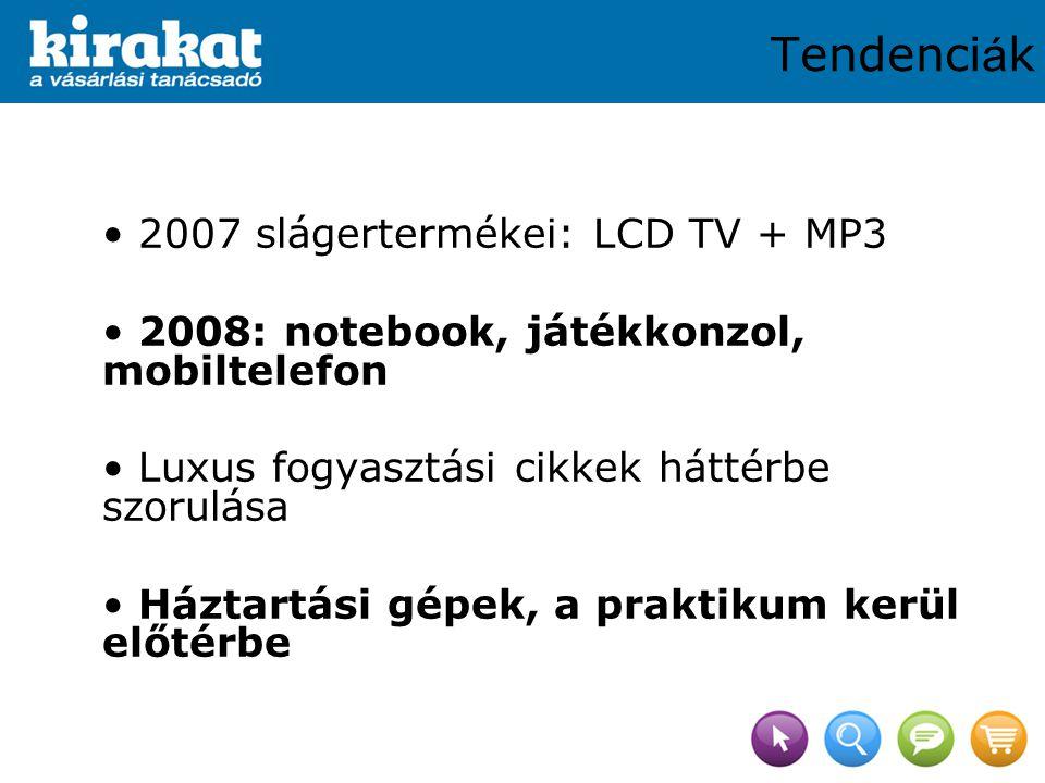 2007 slágertermékei: LCD TV + MP3 2008: notebook, játékkonzol, mobiltelefon Luxus fogyasztási cikkek háttérbe szorulása Háztartási gépek, a praktikum kerül előtérbe Tendenci á k