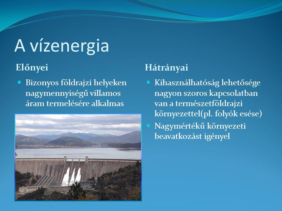 A vízenergia Előnyei Hátrányai Bizonyos földrajzi helyeken nagymennyiségű villamos áram termelésére alkalmas Kihasználhatóság lehetősége nagyon szoros
