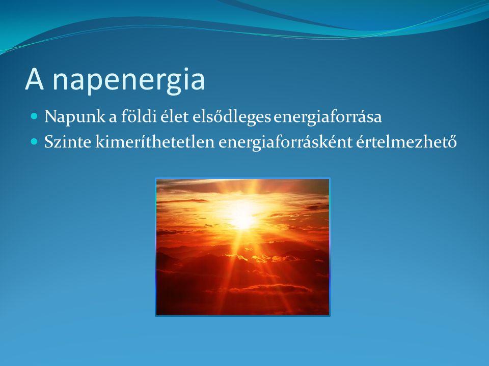 A napenergia Napunk a földi élet elsődleges energiaforrása Szinte kimeríthetetlen energiaforrásként értelmezhető