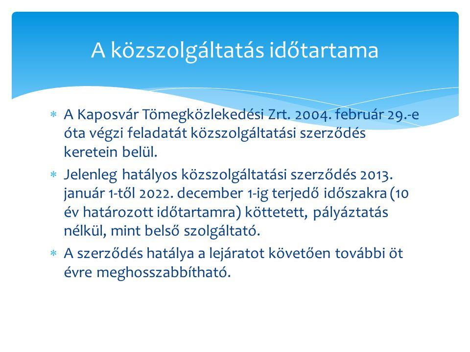 A közszolgáltatás időtartama  A Kaposvár Tömegközlekedési Zrt. 2004. február 29.-e óta végzi feladatát közszolgáltatási szerződés keretein belül.  J