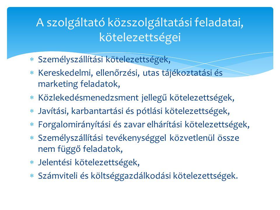A szolgáltató közszolgáltatási feladatai, kötelezettségei  Személyszállítási kötelezettségek,  Kereskedelmi, ellenőrzési, utas tájékoztatási és mark