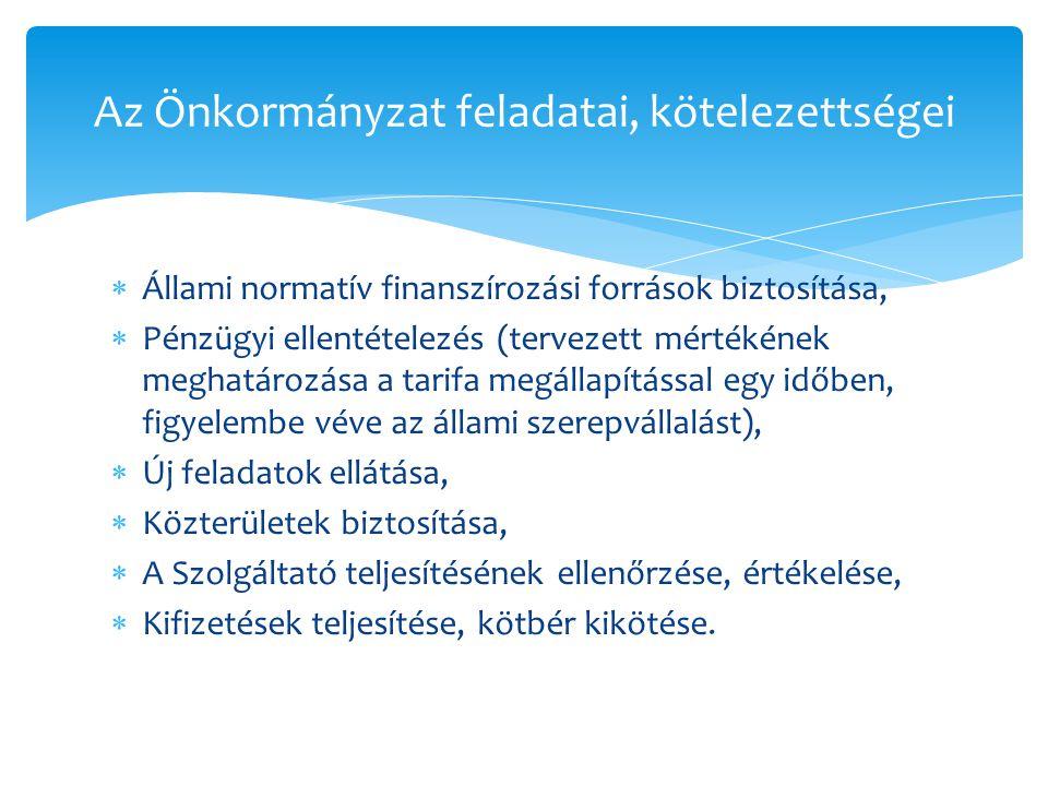 Az Önkormányzat feladatai, kötelezettségei  Állami normatív finanszírozási források biztosítása,  Pénzügyi ellentételezés (tervezett mértékének megh
