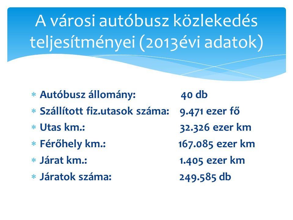  Autóbusz állomány: 40 db  Szállított fiz.utasok száma: 9.471 ezer fő  Utas km.: 32.326 ezer km  Férőhely km.: 167.085 ezer km  Járat km.: 1.405