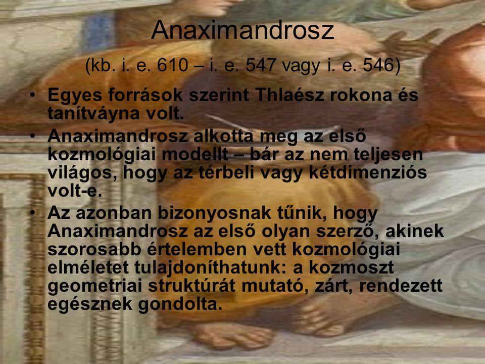 Anaximandrosz (kb. i. e. 610 – i. e. 547 vagy i. e. 546) Egyes források szerint Thlaész rokona és tanítváyna volt. Anaximandrosz alkotta meg az első k