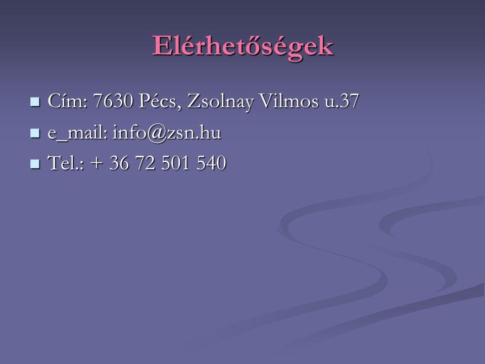 Elérhetőségek Cím: 7630 Pécs, Zsolnay Vilmos u.37 Cím: 7630 Pécs, Zsolnay Vilmos u.37 e_mail: info@zsn.hu e_mail: info@zsn.hu Tel.: + 36 72 501 540 Te