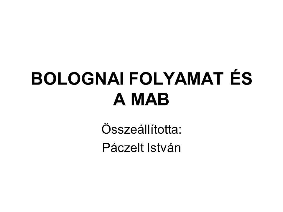 BOLOGNAI FOLYAMAT ÉS A MAB Összeállította: Páczelt István