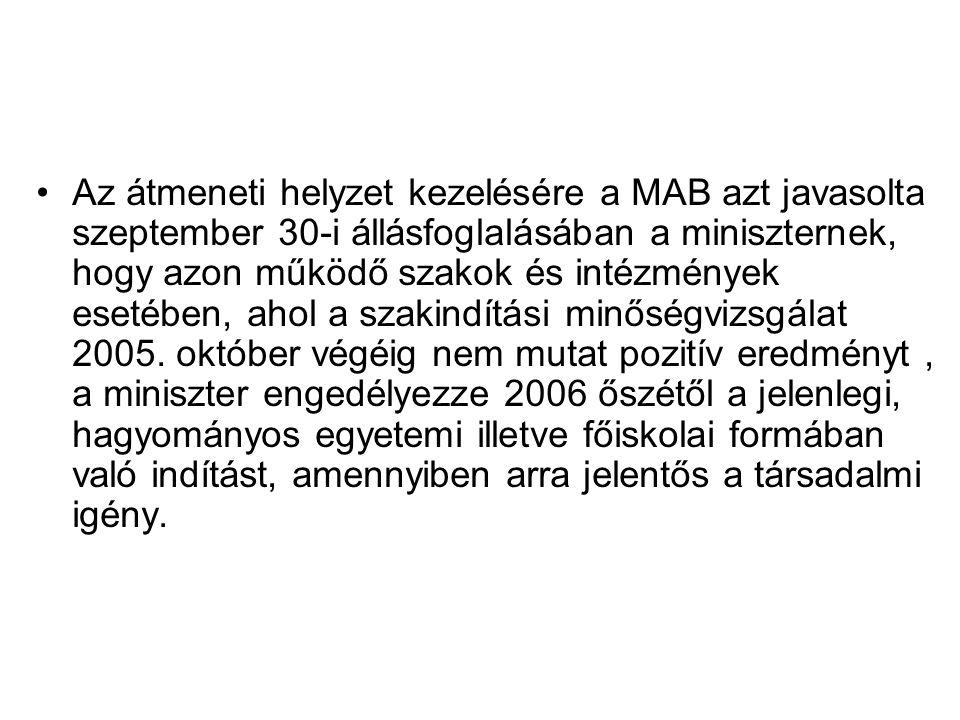 Az átmeneti helyzet kezelésére a MAB azt javasolta szeptember 30-i állásfoglalásában a miniszternek, hogy azon működő szakok és intézmények esetében, ahol a szakindítási minőségvizsgálat 2005.