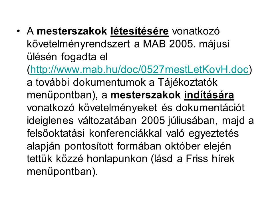 A mesterszakok létesítésére vonatkozó követelményrendszert a MAB 2005. májusi ülésén fogadta el (http://www.mab.hu/doc/0527mestLetKovH.doc) a további