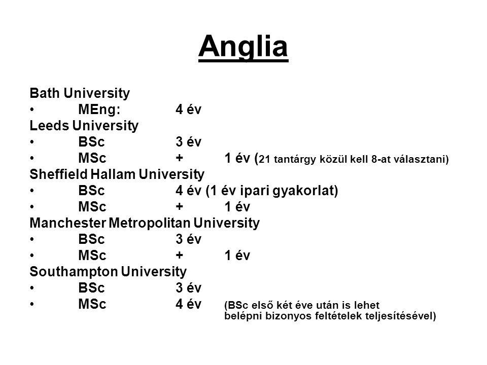 Anglia Bath University MEng:4 év Leeds University BSc 3 év MSc+1 év ( 21 tantárgy közül kell 8-at választani) Sheffield Hallam University BSc 4 év (1