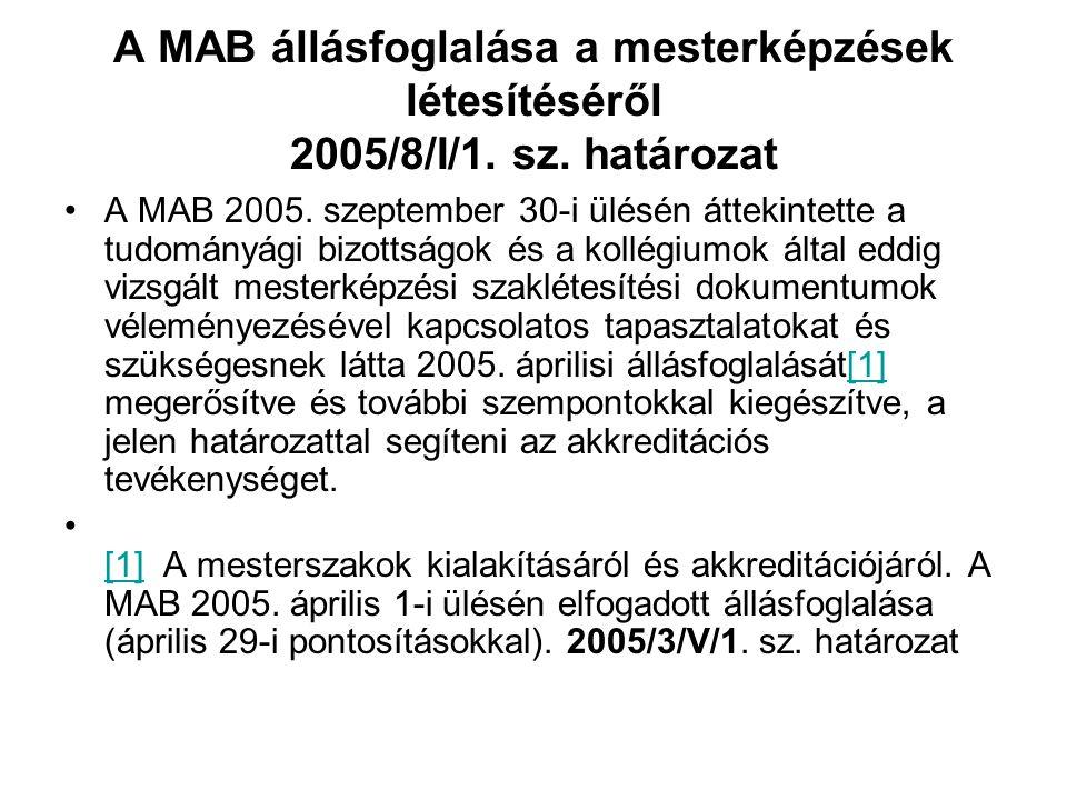 A MAB állásfoglalása a mesterképzések létesítéséről 2005/8/I/1. sz. határozat A MAB 2005. szeptember 30-i ülésén áttekintette a tudományági bizottságo