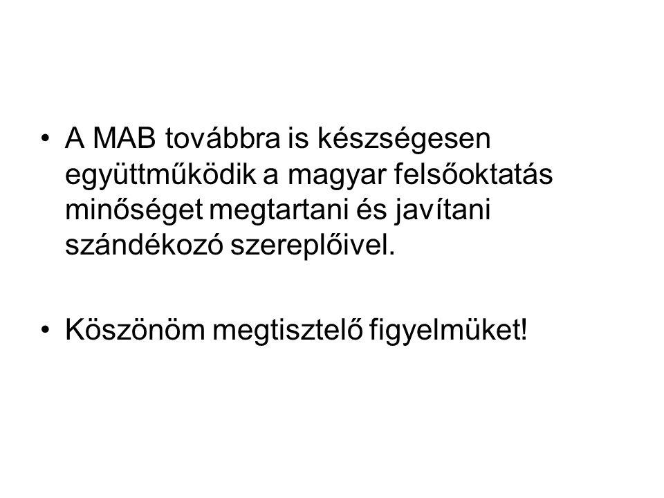 A MAB továbbra is készségesen együttműködik a magyar felsőoktatás minőséget megtartani és javítani szándékozó szereplőivel. Köszönöm megtisztelő figye