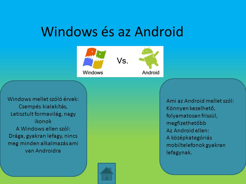 Windows és az Android Ami az Android mellet szól: Könnyen kezelhető, folyamatosan frissül, megfizethetőbb Az Android ellen: A középkategóriás mobiltel