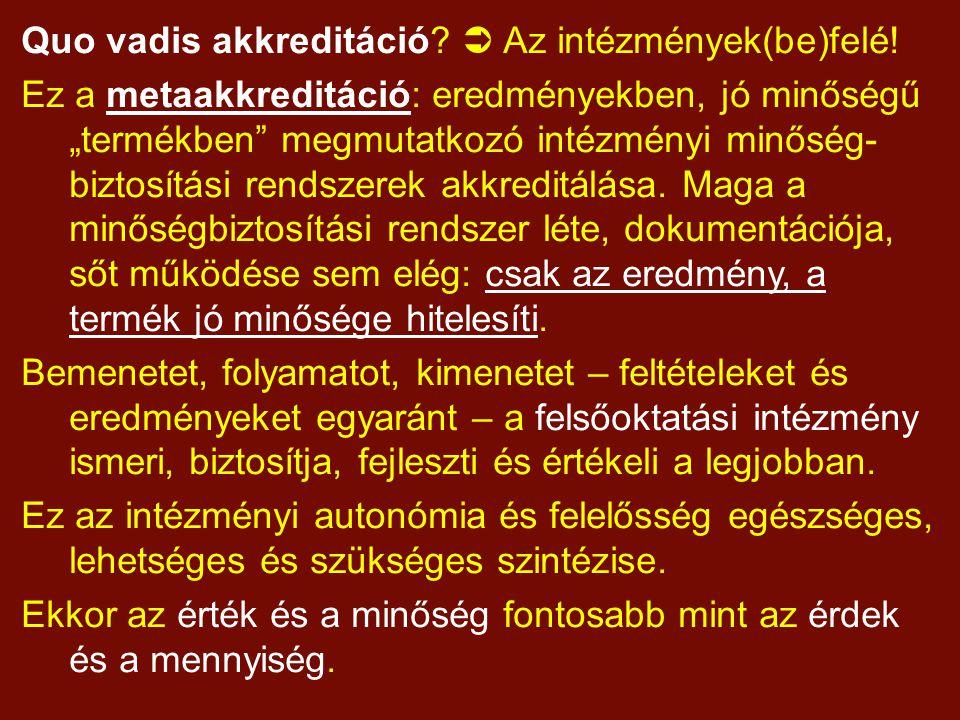 Quo vadis akkreditáció.  Az intézmények(be)felé.