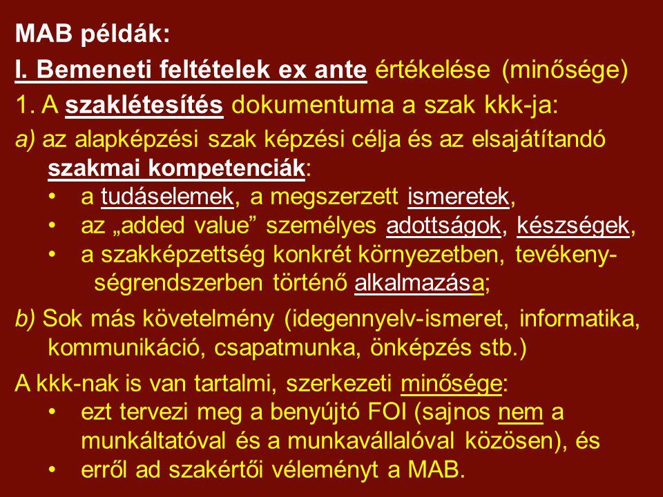 MAB példák: I. Bemeneti feltételek ex ante értékelése (minősége) 1.
