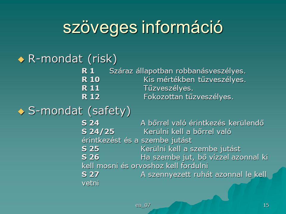 ea_07 15 szöveges információ  R-mondat (risk) R 1 Száraz állapotban robbanásveszélyes. R 10 Kis mértékben tűzveszélyes. R 11 Tűzveszélyes. R 12 Fokoz