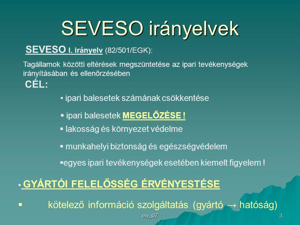 ea_07 3 SEVESO irányelvek SEVESO I. irányelv (82/501/EGK): Tagállamok közötti eltérések megszüntetése az ipari tevékenységek irányításában és ellenőrz