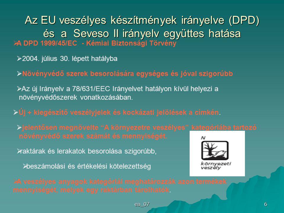 ea_07 6 Az EU veszélyes készítmények irányelve (DPD) és a Seveso II irányelv együttes hatása  A DPD 1999/45/EC - Kémiai Biztonsági Törvény  2004. jú