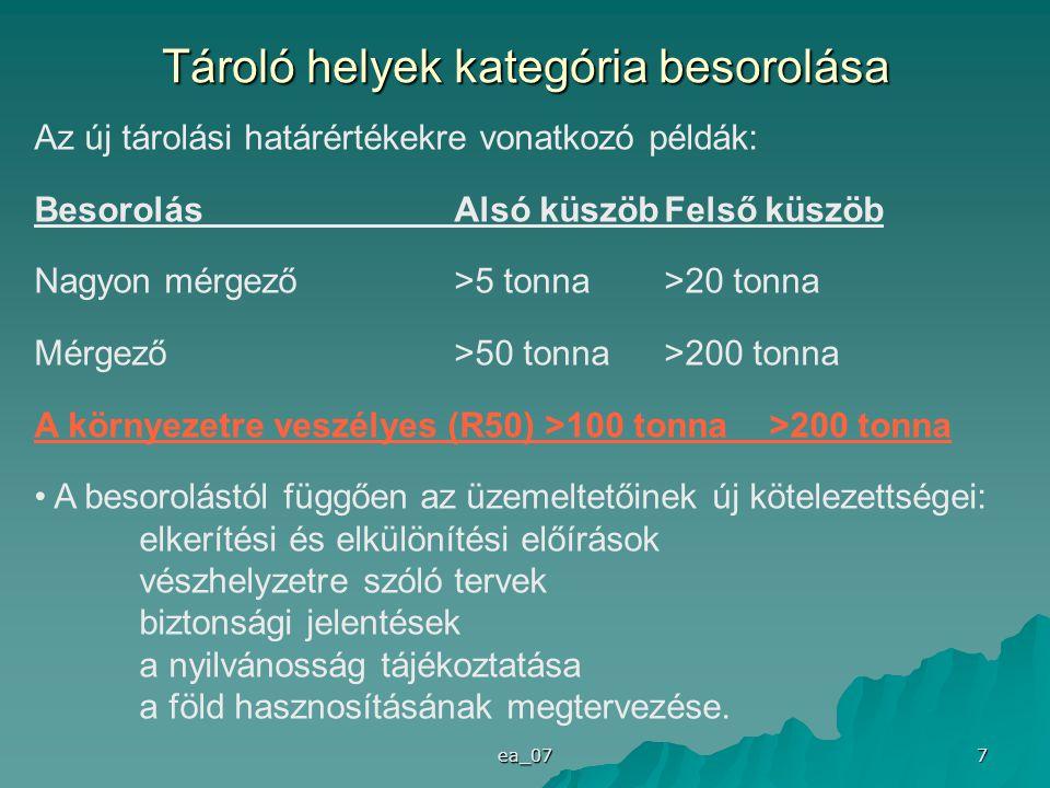ea_07 7 Tároló helyek kategória besorolása Az új tárolási határértékekre vonatkozó példák: BesorolásAlsó küszöbFelső küszöb Nagyon mérgező>5 tonna>20 tonna Mérgező>50 tonna>200 tonna A környezetre veszélyes (R50) >100 tonna >200 tonna A besorolástól függően az üzemeltetőinek új kötelezettségei: elkerítési és elkülönítési előírások vészhelyzetre szóló tervek biztonsági jelentések a nyilvánosság tájékoztatása a föld hasznosításának megtervezése.