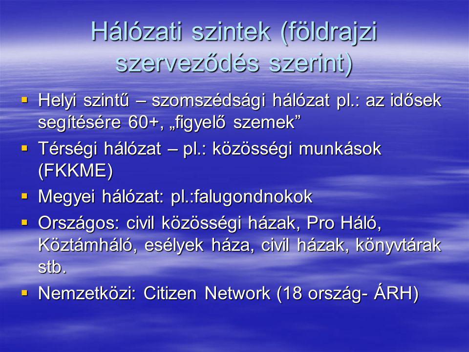 """Hálózati szintek (földrajzi szerveződés szerint)  Helyi szintű – szomszédsági hálózat pl.: az idősek segítésére 60+, """"figyelő szemek""""  Térségi hálóz"""