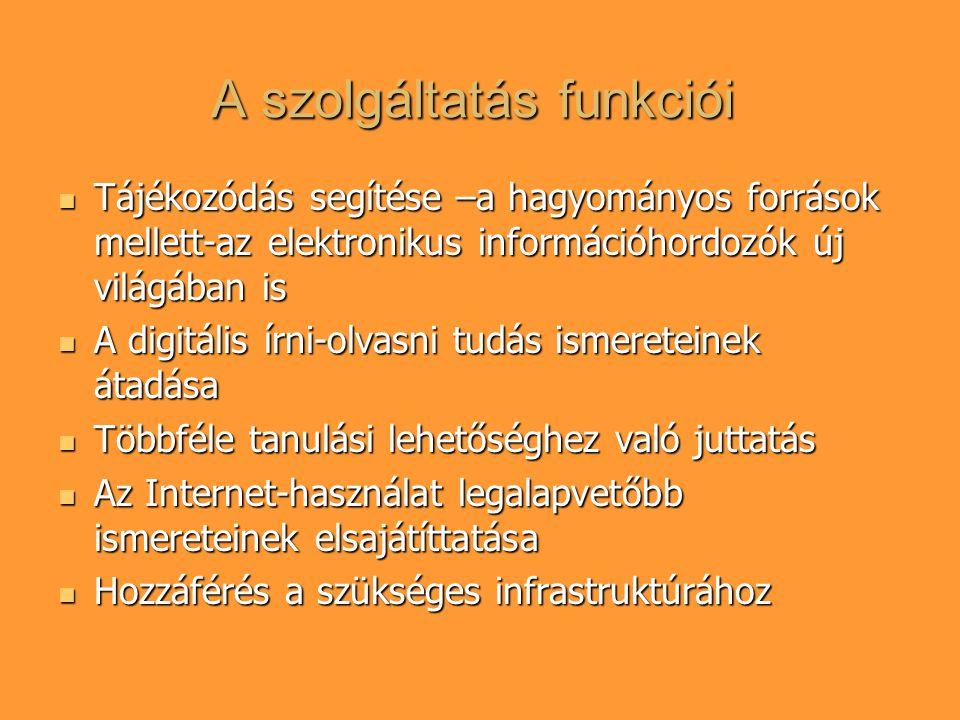 A szolgáltatás funkciói Tájékozódás segítése –a hagyományos források mellett-az elektronikus információhordozók új világában is Tájékozódás segítése –a hagyományos források mellett-az elektronikus információhordozók új világában is A digitális írni-olvasni tudás ismereteinek átadása A digitális írni-olvasni tudás ismereteinek átadása Többféle tanulási lehetőséghez való juttatás Többféle tanulási lehetőséghez való juttatás Az Internet-használat legalapvetőbb ismereteinek elsajátíttatása Az Internet-használat legalapvetőbb ismereteinek elsajátíttatása Hozzáférés a szükséges infrastruktúrához Hozzáférés a szükséges infrastruktúrához